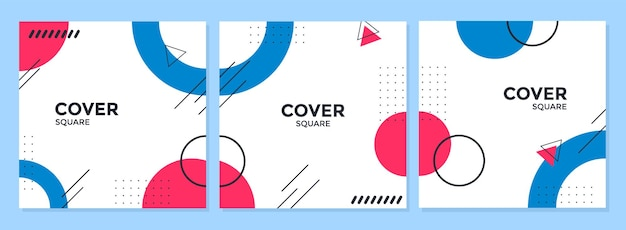 Trendy abstract square template for social media with geometric concept