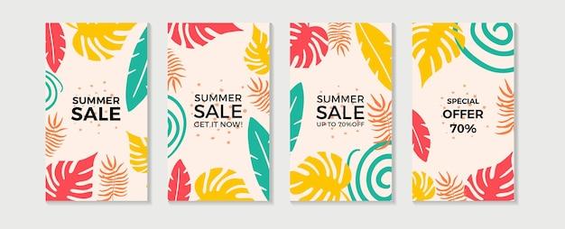 Модные абстрактные летние шаблоны с цветочными и геометрическими элементами.