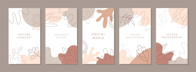 Trendy abstract universal template with autumn concept.