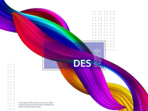 Trendy abstract wave liquid background. 3d fluid shapes composition, color flow minimal design.