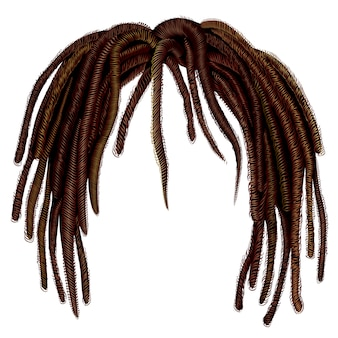Trendy african long  hair dreadlocks . realistic   . fashion beauty style .hairstyle wig