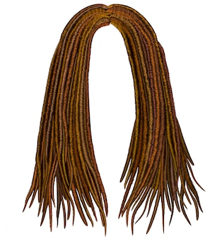 Trendy african long  hair dreadlocks . realistic   . fashion beauty style .