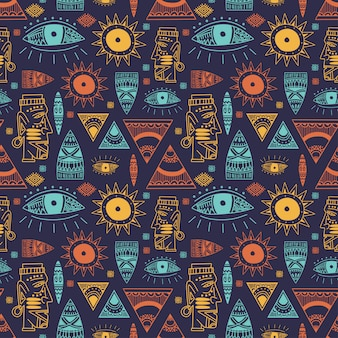 Trendy african maya seamless pattern with doodle hand drawn ancient objects