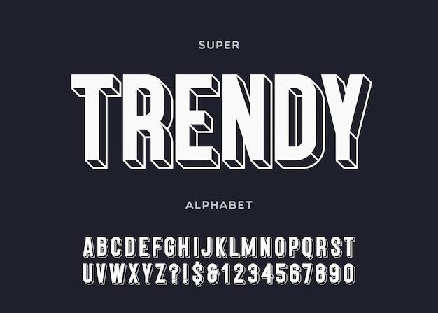 유행 알파벳 3d 굵은 활판 인쇄술 산세 리프 스타일