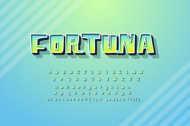 Trendy alphabet with word fortuna
