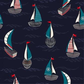 海のシームレスなパターンでトレンディでかわいい手描きのボート