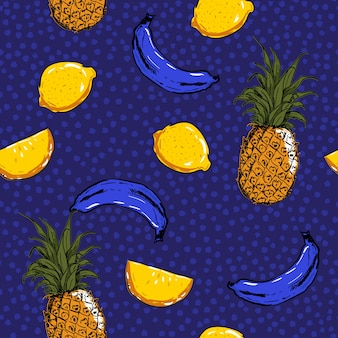 Модный и свежий ручной эскиз летних фруктов лимон