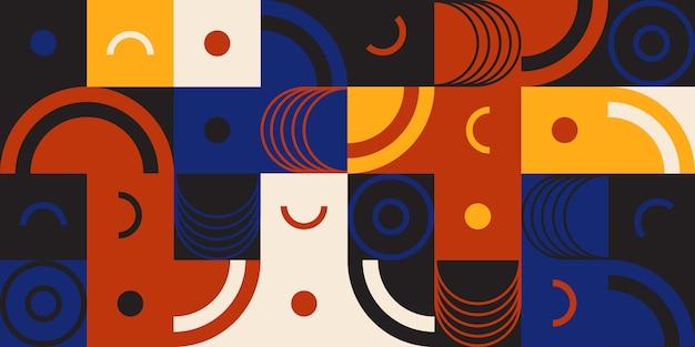 トレンディでレトロなカラフルな幾何学的図形。抽象的なパターン、丸みを帯びた形状、鋭角、対照的な色。キュービズム、構成主義、シュプレマティスム。 。