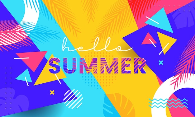 トレンディで活気に満ちたカラフルな夏のバナーデザインの背景