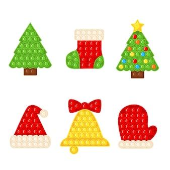 Модная сенсорная игрушка-антистресс pop it fidget set с рождественскими элементами в плоском стиле