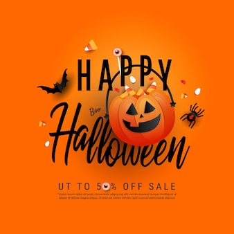 Trendy art happy halloween template poster with orange trick or treat pumpkin and color candy, bats, spider and creative hand draw text on orange background. flat lay, top view with copy space