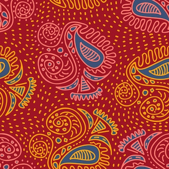 Trendy asian tribal ethnic motifs hand drawn seamless pattern