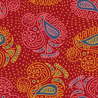 トレンディなアジアの部族民族モチーフ手描きのシームレスパターン