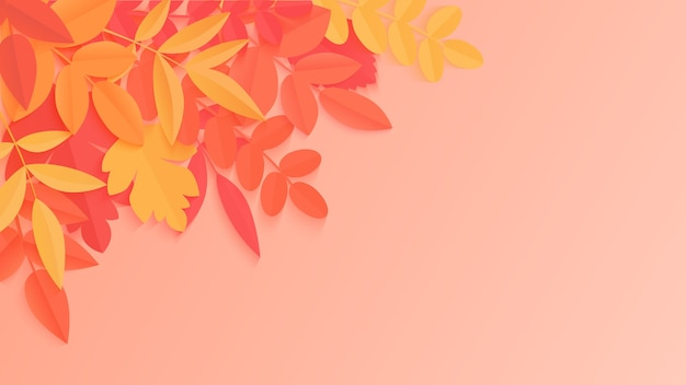 Trendy autumn background with paper style bright color autumn leaves