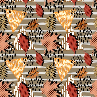 Trendy autumn memphis pattern