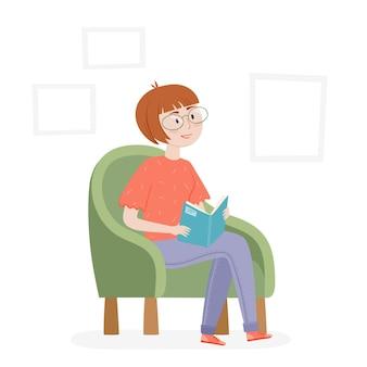 アームチェアで本を読んでいる女性とトレンディな背景ベクトルフラットデザインインテリアの女性