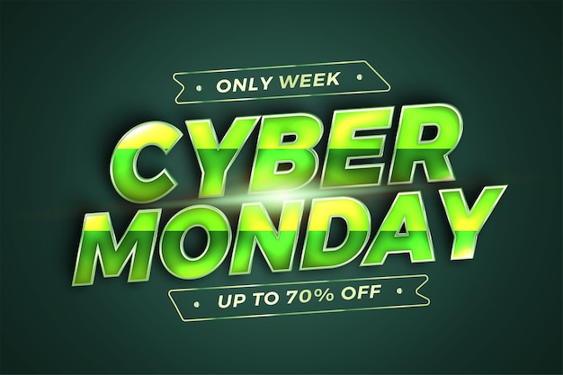 Trendy banner promotion social media online sale cyber monday with realistic d green template