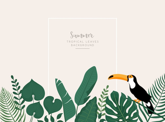 Trendy banner with tropical leaves, toucan bird and space for text.