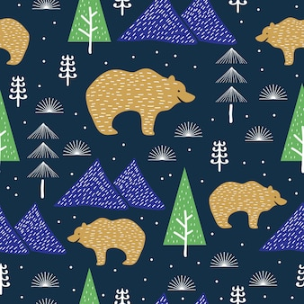 Trendy bear and forest seamless pattern for winter season
