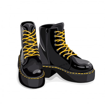 Trendy black boots with yellow lacing, isolated