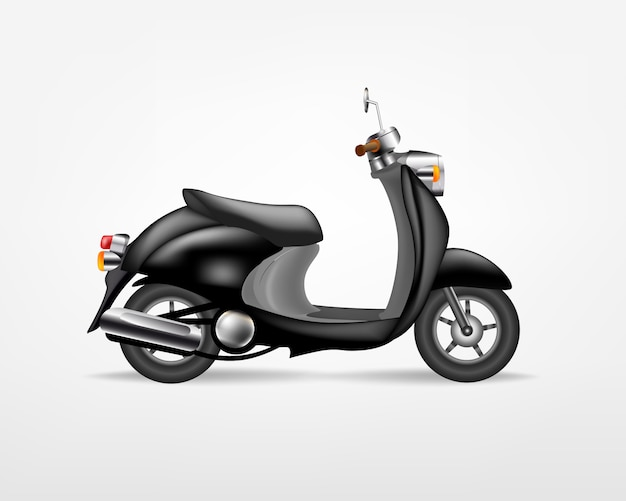 Модный черный электрический скутер, на белом фоне. электрический мотоцикл, шаблон для брендинга и рекламы.