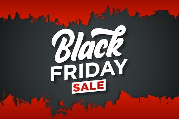 Trendy black friday sticker with drak background and red grunge
