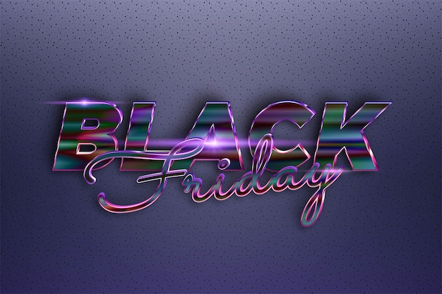 Модная черная пятница текстовый эффект тема металл