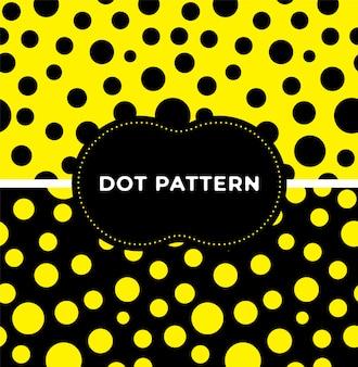 유행 검은 노란색 물방울 무늬 원활한 패턴