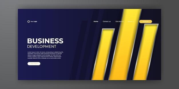 방문 페이지 디자인을 위한 트렌디한 파란색 노란색 추상적인 배경. 트렌디한 추상 디자인 템플릿입니다. 방문 페이지, 표지, 전단지, 프레젠테이션, 배너에 대한 동적 그라데이션. 벡터 일러스트 레이 션.