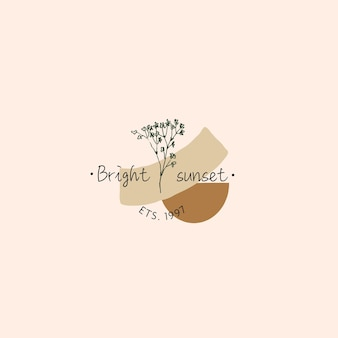 Trendy boho hand drawn floral logo with linear gypsophila and pastel abstract shapes