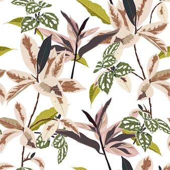 Trendy botanical leaves in the forest