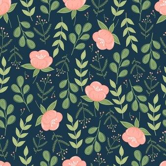 花と葉を持つトレンディな植物のシームレスなパターン