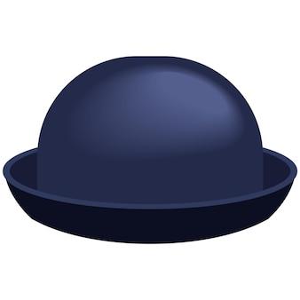 유행 중산 모자 평면 흰색 절연입니다. 빈티지 페도라 모자 흰색 배경에 고립입니다. 신사 펠트 모자 액세서리 일러스트