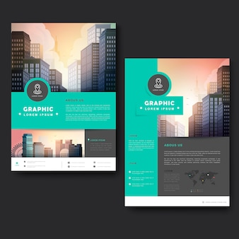 Trendy brochure template design with city landscape and geometric elements