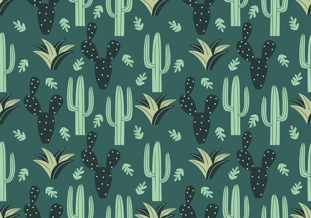 Trendy cactus seamless pattern with floral drawing style
