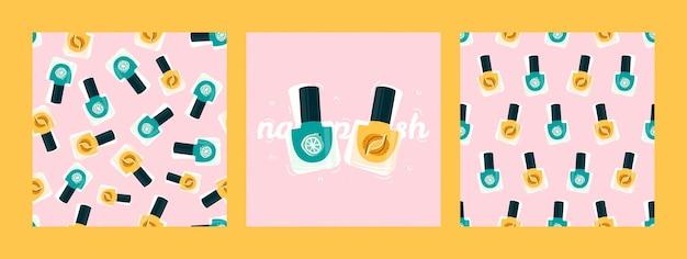 Модная открытка и бесшовные модели с яркими лаками для ногтей