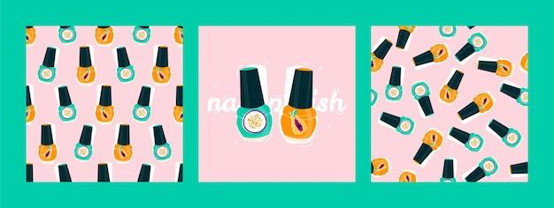 Модная открытка с яркими лаками для ногтей