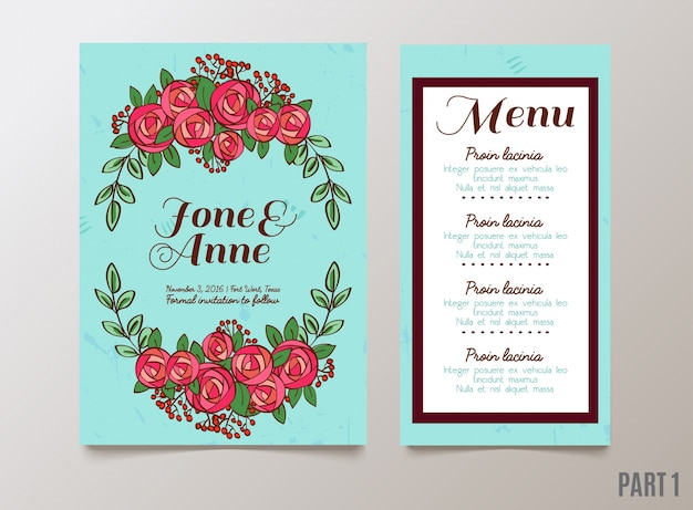 결혼식을위한 장미와 최신 유행 카드, 날짜 초대 저장