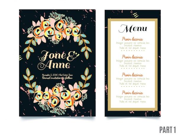 결혼식을위한 장미와 최신 유행 카드, 날짜 초대 저장 프리미엄 벡터