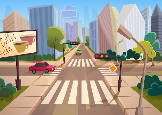 Trendy cartoon city with crossroad street