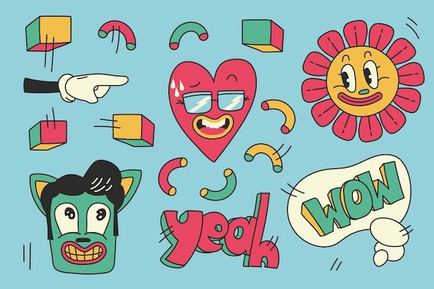 Trendy cartoon element set