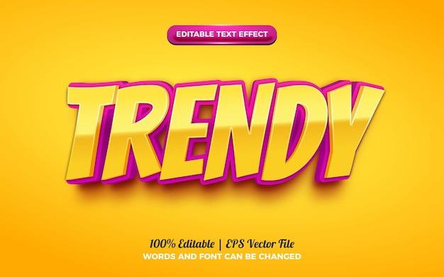 Trendy cartoon kids 3d editable text effect