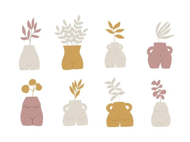 식물 잎 일러스트 세트와 유행 세라믹 꽃병