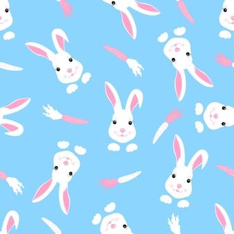 귀여운 부활절 토끼와 당근으로 트렌디한 유치한 매끄러운 패턴입니다. 보육원, 아동복, 아동용 액세서리, 선물 포장, 디지털 종이 장식에 사용할 수 있습니다. 프리미엄 벡터