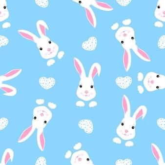 Модный детский бесшовный образец с милым пасхальным кроликом и сердцами. может использоваться для украшения детской, детской одежды, детских аксессуаров, подарочной упаковки, цифровой бумаги.