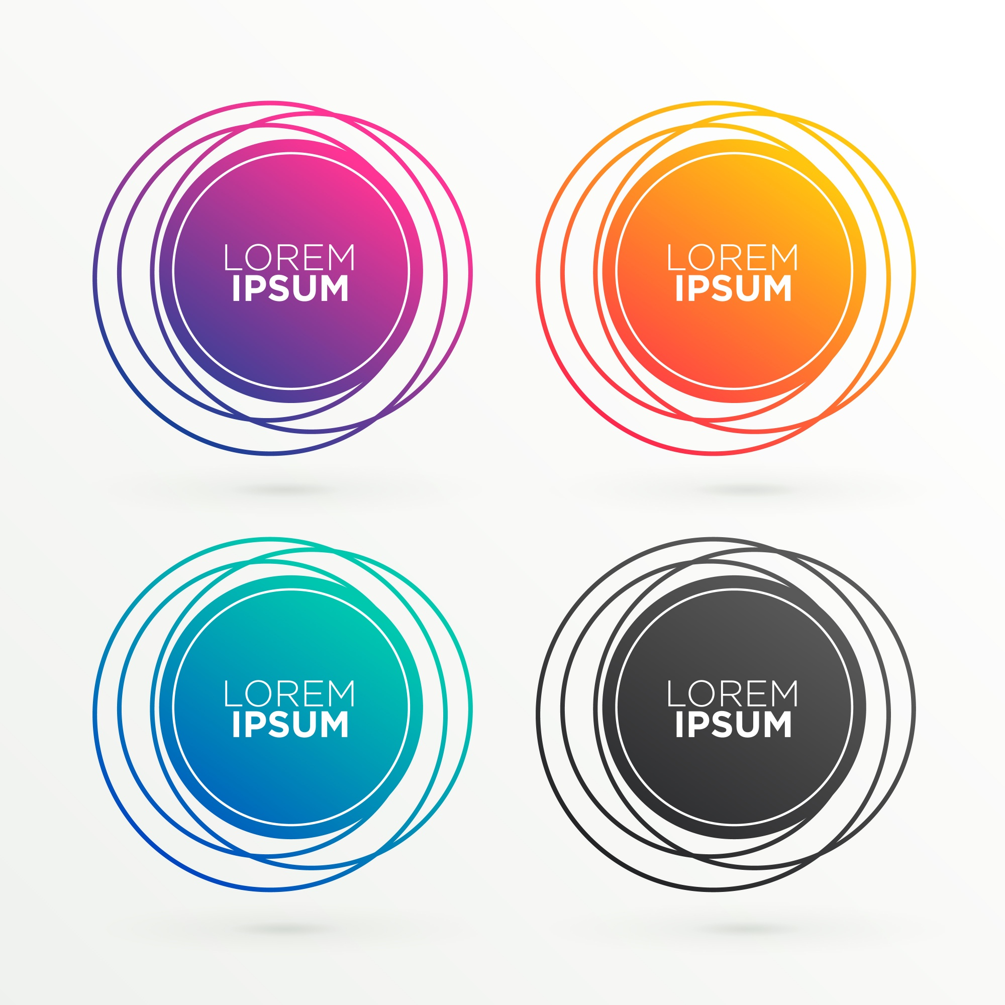 Trendy circular banner shapes with space for your text