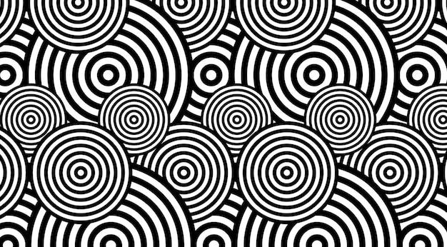 유행 원형 흑백 패턴 배경 벡터 디자인. 착시 회전 배경.