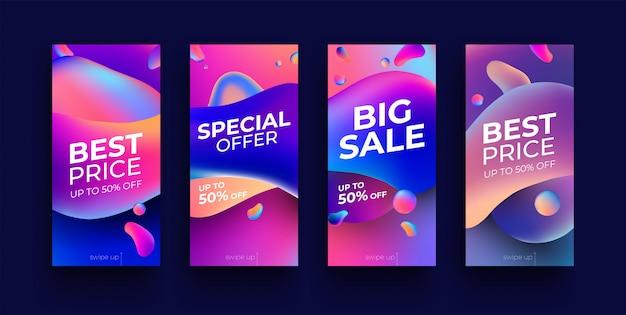 Trendy colored fluid bubble gradient sale banner set for instagram stories.