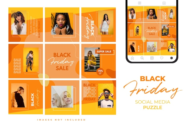 Trendy colorful black friday social media puzzle template for product sale and discount promotion