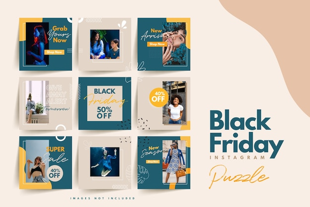 Trendy colorful black friday social media puzzle template